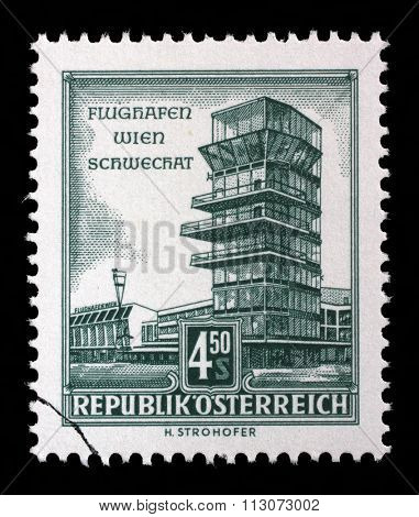 AUSTRIA - CIRCA 1957: stamp printed by Austria, shows Schwechat Airport, Vienna, circa 1957