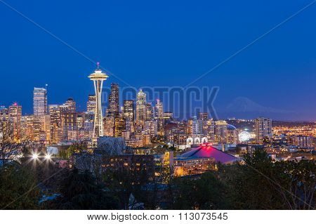 Seattle Downtown Skyline And Mt. Rainier At Night, Washington
