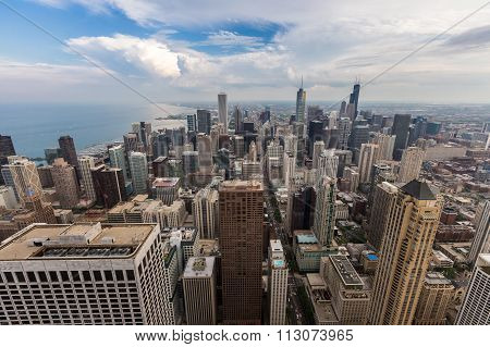 Chicago Downtown Skyline With Beautiful Cloud