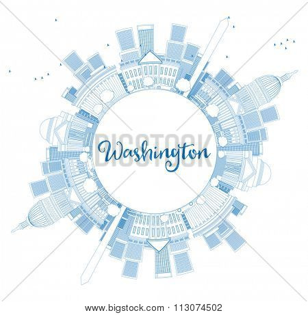 Outline Washington DC Skyline with Copy Space and Blue Buildings. Business travel and tourism concept with place for text. Image for presentation, banner, placard and web site Vector illustration.