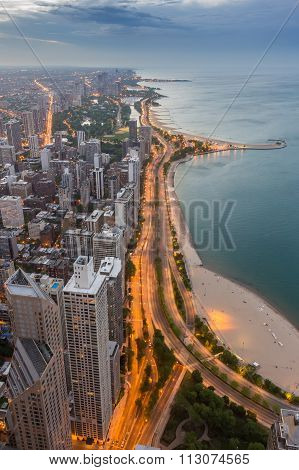 Chicago Skyline And Lake Michigan At Sunset