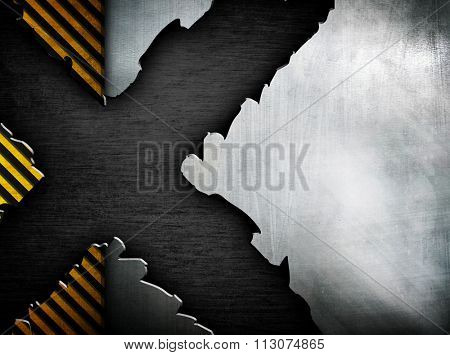 cracked metal plate with x pattern