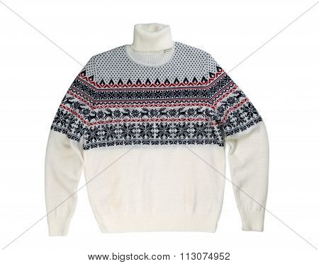 Light Knitted Sweater With A Pattern Deer.