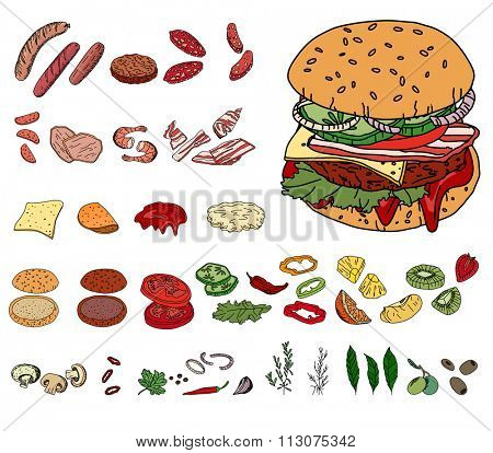 Fresh ingredients - vegetables, cheese, mushrooms, herbs and meat - for burger. Objects isolated on white. For your design, announcements, cards, posters, restaurant and cafe menu.