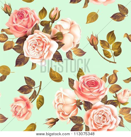Seamless spring pattern with roses. Vector illustration.
