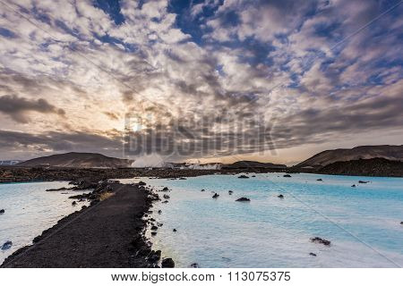 Geothermal Pool In Blue Lagoon In The Morning, Iceland