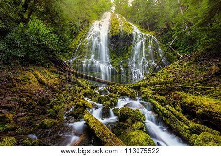 Beautiful Proxy Falls In Mist, Oregon