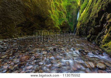 Beautiful Waterfall And Canyon In Oneonta Gorge Trail, Oregon.
