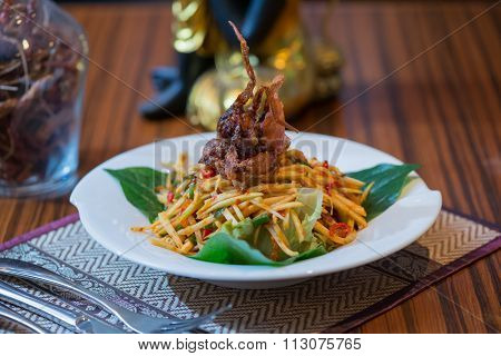 Soft Crab Spicy Salad, thai Food , Thailand Famous Food