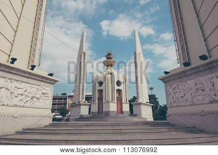 Democracy Monument In The Centre Of Bangkok, Thailand