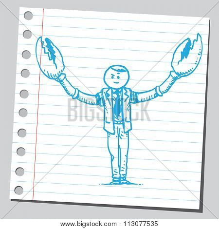 Businessman with crab claws