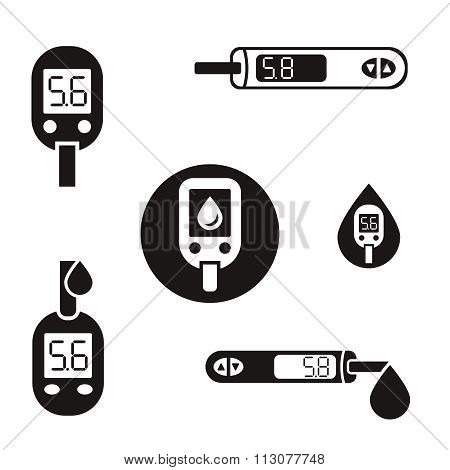 Diabetes Glucometer Icons 08 A