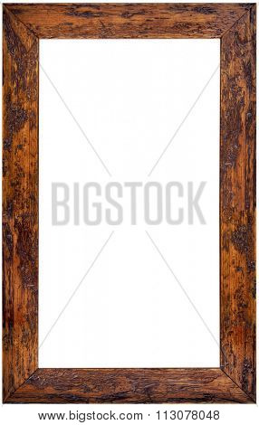 Vertical Wooden Picture Frame Isolated on White Background