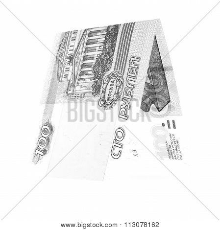 Black 100 Rubles Folded In Half, Russian Roubles Isolated White