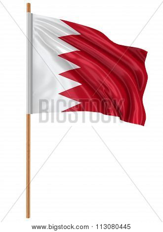 3D Flag of Bahrain with fabric surface texture. White background. Image with clipping path