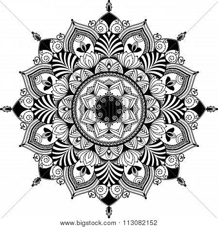mandala, zentagle inspired illustration, black and white