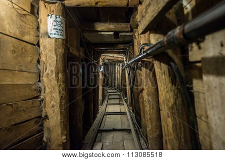 Sarajevo, Bosnia and Herzegovina - August 24, 2015: Inside the Sarajevo Tunnel constructed during the Siege of Sarajevo