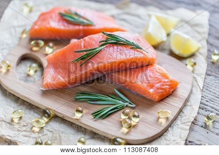 Sources Of Omega-3 Acid (salmon and Omega-3 pills)