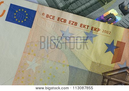 Extreme Close Up Of Two Euro Bills