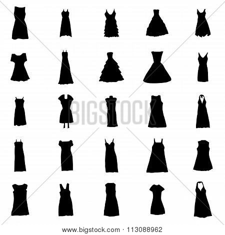 Woman dresses silhouettes set. Woman dresses silhouettes vector. Woman dresses silhouettes illustration. Woman dresses silhouettes art. Woman dresses silhouettes shape. Woman dresses icons