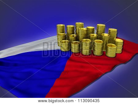 Czech economy concept with national flag and golden coins