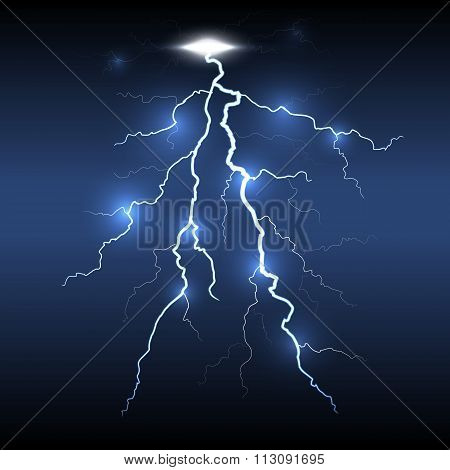 Lightning flash strike, dark background