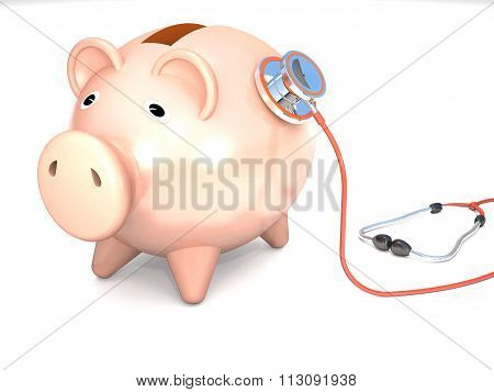 Piggy Bank And Stethoscope.