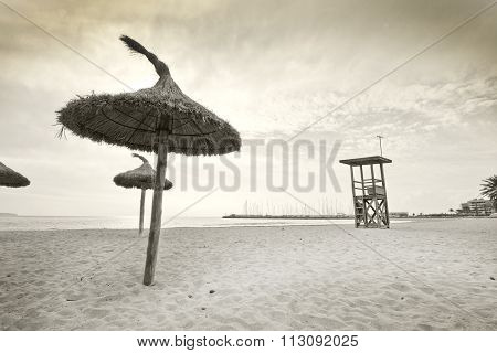 Parasols On Winter Beach