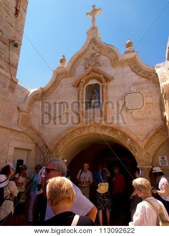 Bethlehem, Israel - July 12, 2015: The Facade Of Cave Of