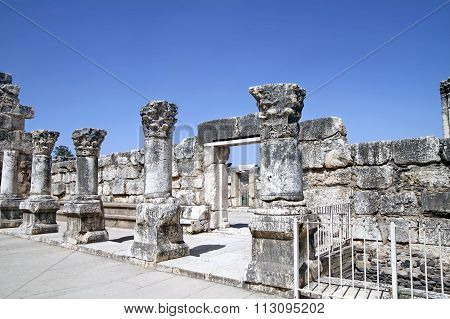 Ruins Of The White Synagogue In Capernaum
