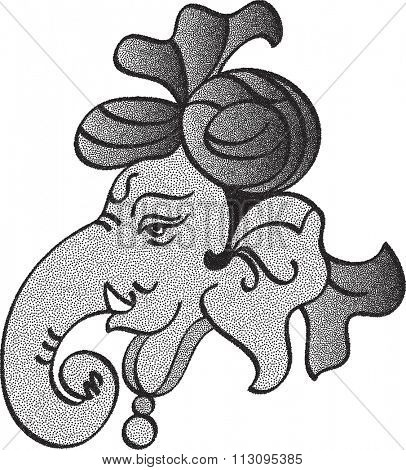 Ganesha Stipple Effect Raster Illustration