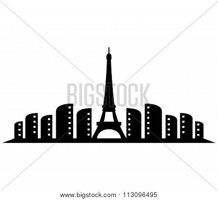 paris skyline shown on a white background