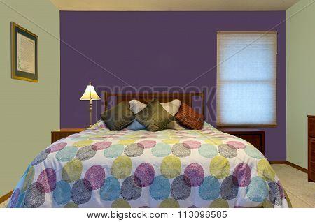 Purple And Green Bedroom Interior