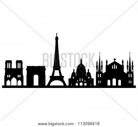 Skyline Parigi Su Sfondo Bianco 1