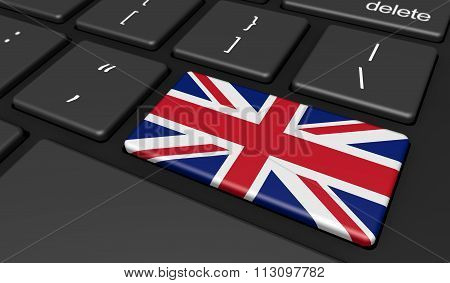 Uk Flag On Computer Key