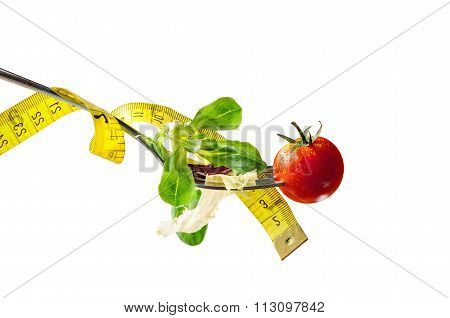 Concept Diet Fork With Salad And Metro Horizontal Composition Isolated