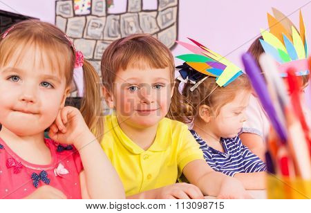 Portrait of kids in class boys and girls