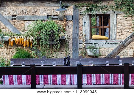 Table Set In Cottage Yard
