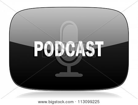 podcast black glossy web modern icon