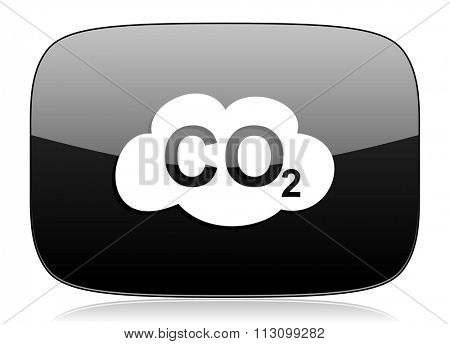 carbon dioxide black glossy web modern icon