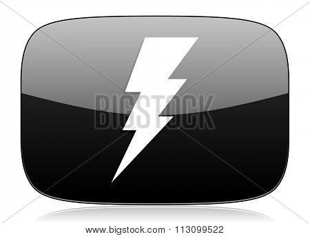 bolt black glossy web modern icon