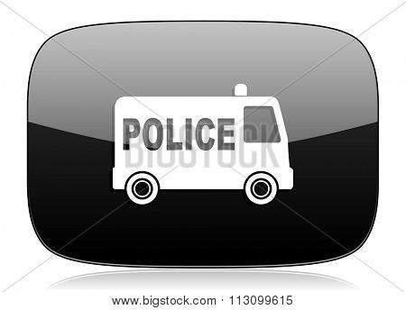 police black glossy web modern icon