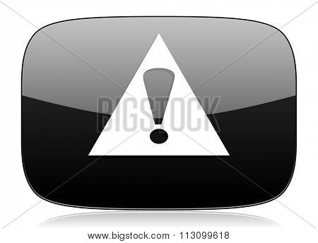 exclamation sign black glossy web modern icon