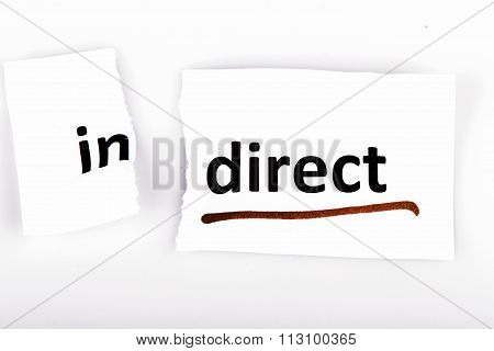 The word indirect changed to direct on torn paper and white background