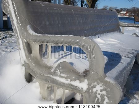 Close-up Ice Covered Park Bench