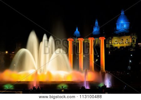 Montjuic Fountain At National Art Museum Of Catalonia In Barcelo