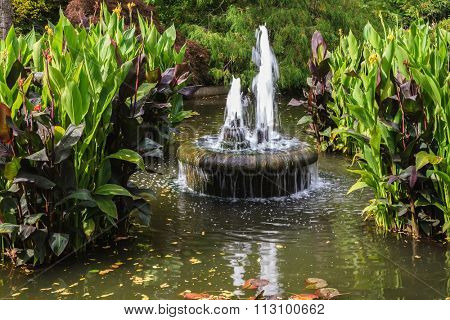Small fountain in quiet pond. Autumn day in the park Butchart Gardens on Vancouver Island, Canada