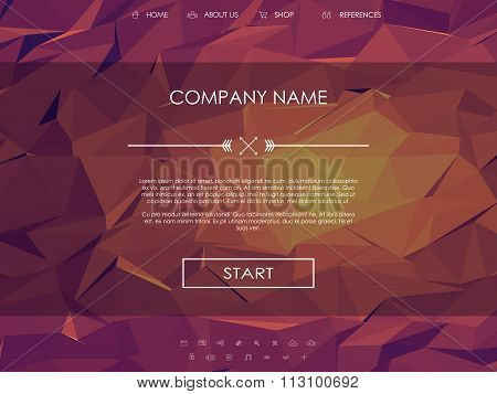 Website landing page template with set of line icons user interface and orange, pink, purple, hot lo
