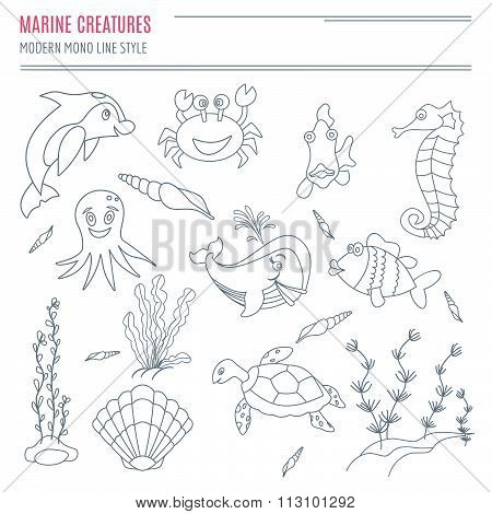 Collection Of Hand Drawn Sea Creatures