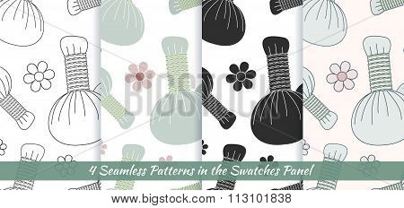 Seamless Patterns With Thai Massage, Spa Elements